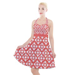 Floral Dot Series   White And Living Coral Halter Party Swing Dress  by TimelessFashion