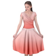 Coral To White Cap Sleeve Wrap Front Dress by TimelessFashion