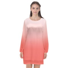 Coral To White Long Sleeve Chiffon Shift Dress  by TimelessFashion