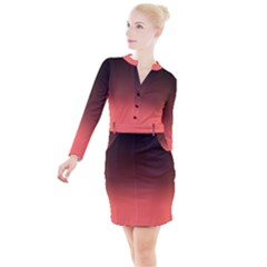 Coral To Black  Button Long Sleeve Dress by TimelessFashion