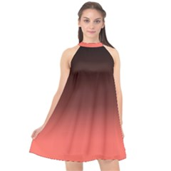 Coral To Black  Halter Neckline Chiffon Dress  by TimelessFashion