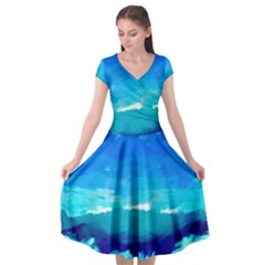 Blue Sky Artwork Drawing Painting Cap Sleeve Wrap Front Dress