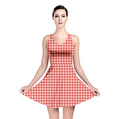 Grid In Living Coral Reversible Skater Dress by TimelessFashion