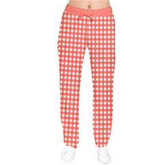 Grid In Living Coral Velvet Drawstring Pants by TimelessFashion