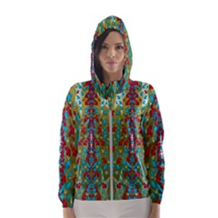 Raining Paradise Flowers In The Moon Light Night Hooded Windbreaker (women) by pepitasart