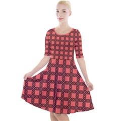 Grid Of Ellegance Quarter Sleeve A Line Dress by TimelessFashion