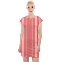 Nice Stripes In Coral Cap Sleeve Bodycon Dress by TimelessFashion