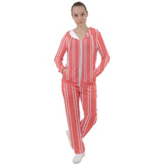 Nice Stripes In Coral Women s Tracksuit by TimelessFashion