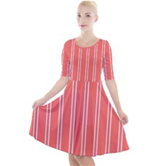 Nice Stripes In Coral Quarter Sleeve A Line Dress by TimelessFashion