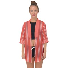 Nice Stripes In Coral Open Front Chiffon Kimono by TimelessFashion