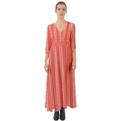 Nice Stripes In Coral Button Up Boho Maxi Dress by TimelessFashion