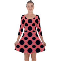 Polka Dots (large) Quarter Sleeve Skater Dress by TimelessFashion