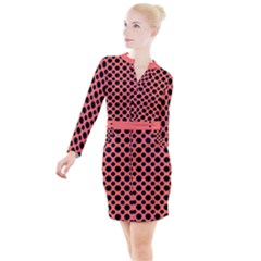 Polka Dots (medium) Button Long Sleeve Dress by TimelessFashion