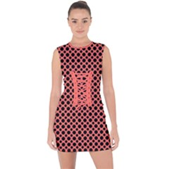 Polka Dots (small) Lace Up Front Bodycon Dress by TimelessFashion