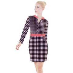 Square Effect Button Long Sleeve Dress by TimelessFashion