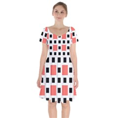 Squares On A Mission Short Sleeve Bardot Dress by TimelessFashion