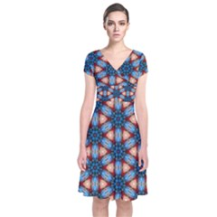 Pattern Tile Background Seamless Short Sleeve Front Wrap Dress