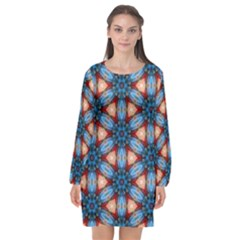 Pattern Tile Background Seamless Long Sleeve Chiffon Shift Dress