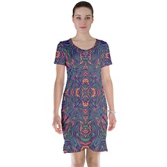 Tile Repeating Colors Textur Short Sleeve Nightdress by Pakrebo