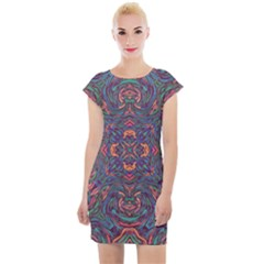Tile Repeating Colors Textur Cap Sleeve Bodycon Dress by Pakrebo