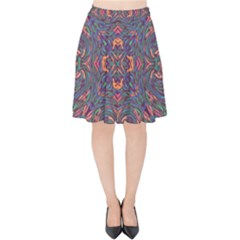 Tile Repeating Colors Textur Velvet High Waist Skirt by Pakrebo