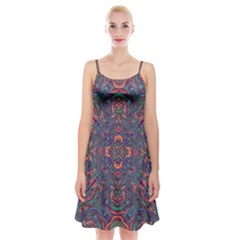 Tile Repeating Colors Textur Spaghetti Strap Velvet Dress by Pakrebo