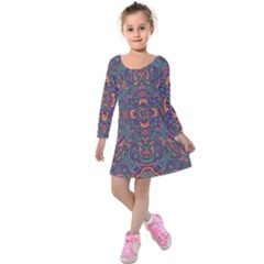 Tile Repeating Colors Textur Kids  Long Sleeve Velvet Dress by Pakrebo