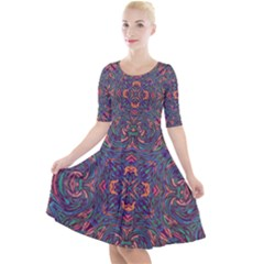 Tile Repeating Colors Textur Quarter Sleeve A Line Dress by Pakrebo