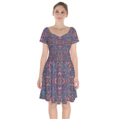 Tile Repeating Colors Textur Short Sleeve Bardot Dress