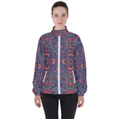 Tile Repeating Colors Textur High Neck Windbreaker (women) by Pakrebo