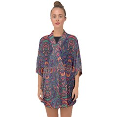 Tile Repeating Colors Textur Half Sleeve Chiffon Kimono by Pakrebo