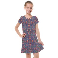 Tile Repeating Colors Textur Kids  Cross Web Dress by Pakrebo