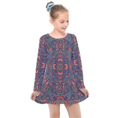 Tile Repeating Colors Textur Kids  Long Sleeve Dress by Pakrebo