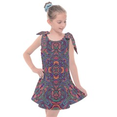 Tile Repeating Colors Textur Kids  Tie Up Tunic Dress by Pakrebo