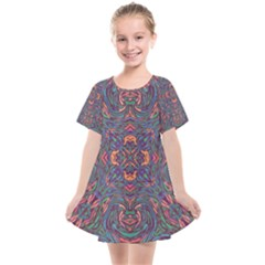Tile Repeating Colors Textur Kids  Smock Dress by Pakrebo