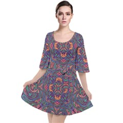 Tile Repeating Colors Textur Velour Kimono Dress by Pakrebo