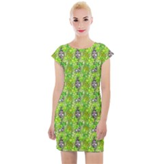Maple Leaf Plant Seamless Pattern Cap Sleeve Bodycon Dress