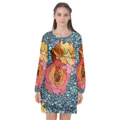 Pattern Rose Yellow Background Long Sleeve Chiffon Shift Dress