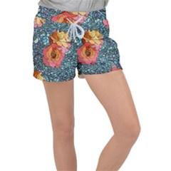 Pattern Rose Yellow Background Women s Velour Lounge Shorts by Pakrebo
