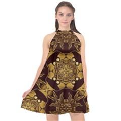 Gold Black Book Cover Ornate Halter Neckline Chiffon Dress