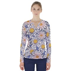 Flowers Pattern Lotus Lily V Neck Long Sleeve Top by Pakrebo