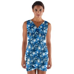 Star Hexagon Blue Deep Blue Light Wrap Front Bodycon Dress by Pakrebo