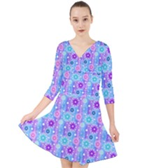 Flowers Light Blue Purple Magenta Quarter Sleeve Front Wrap Dress
