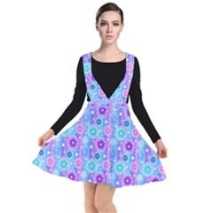 Flowers Light Blue Purple Magenta Plunge Pinafore Dress by Pakrebo