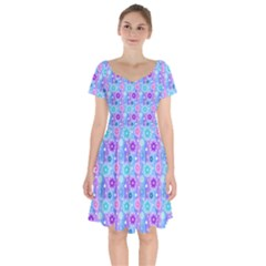 Flowers Light Blue Purple Magenta Short Sleeve Bardot Dress