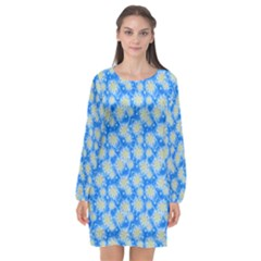 Hydrangea Blue Glitter Round Long Sleeve Chiffon Shift Dress