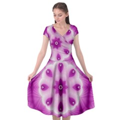Pattern Abstract Background Art Purple Cap Sleeve Wrap Front Dress