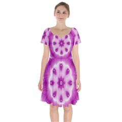 Pattern Abstract Background Art Purple Short Sleeve Bardot Dress by Pakrebo