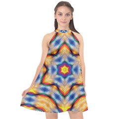 Pattern Abstract Background Art Halter Neckline Chiffon Dress