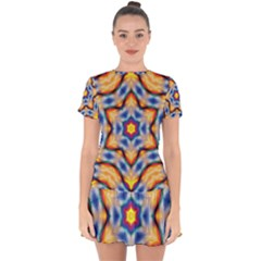 Pattern Abstract Background Art Drop Hem Mini Chiffon Dress